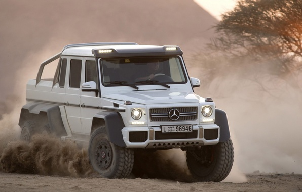 Picture Dust, White, Mercedes, Jeep, 2012, Car, Mercedes Benz, AMG, Power, G63, Dust, 6x6