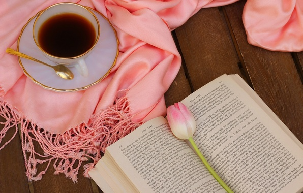 Picture flower, pink, Tulip, coffee, scarf, still life, flower, pink, cup, tulips, still life, book, drink, …