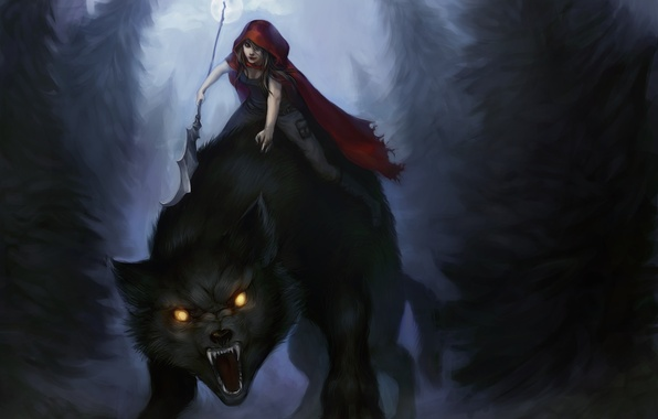 Picture forest, look, girl, trees, night, wolf, little red riding hood, art, Red Riding Hood, grins