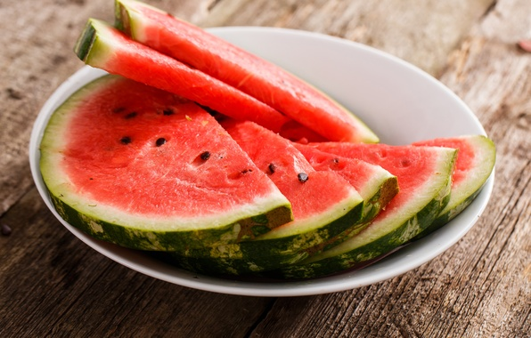 Picture watermelon, bowl, seeds, slices