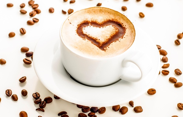 Picture foam, heart, figure, coffee, chocolate, grain, Cup, white, cappuccino, saucer