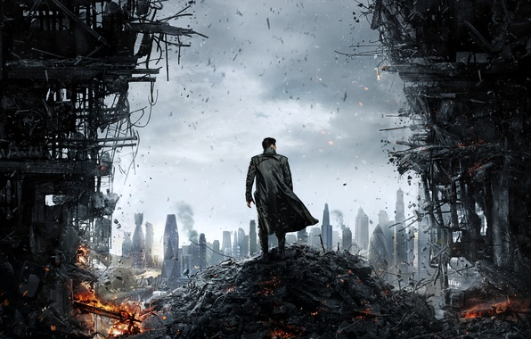 Picture the wreckage, the city, Star Trek, opening, Into Darkness, Khan, male coat