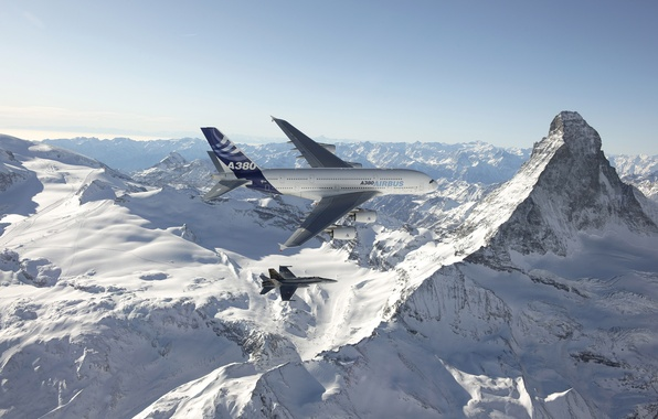 Picture The sky, Mountains, The plane, Snow, Liner, Flight, Height, F/A-18, A380, Passenger, Airbus, Douglas, Deck, …