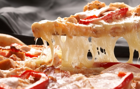 Picture cheese, pizza, tomatoes, paprika, ham