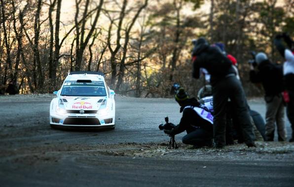 Picture Auto, White, Volkswagen, Speed, People, Light, Turn, Lights, WRC, Rally, Polo, Sebastien Ogier, Ancestor