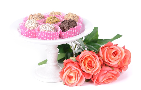 Picture flowers, chocolate, roses, candy, chocolate, roses