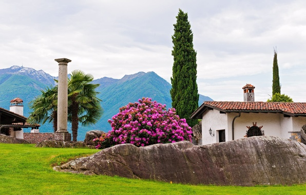 Picture trees, mountains, house, Park, stones, palm trees, Bush, column, cypress, rhododendron