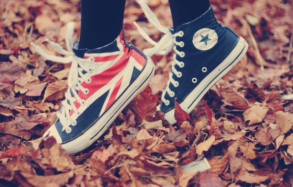 Picture autumn, leaves, nature, movement, situation, foliage, sport, shoes, sneakers, the situation, flag, fallen leaves, on …