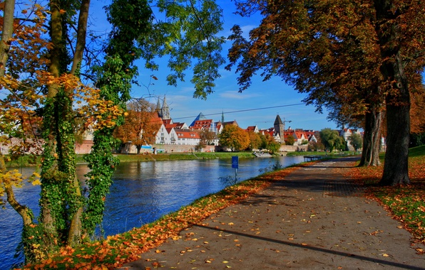 Picture road, trees, the city, river, Germany, Bayern, Neu-Ulm