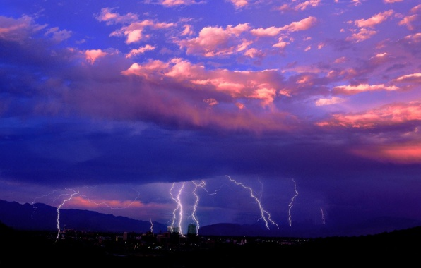 Picture The city, Lightning, Clouds