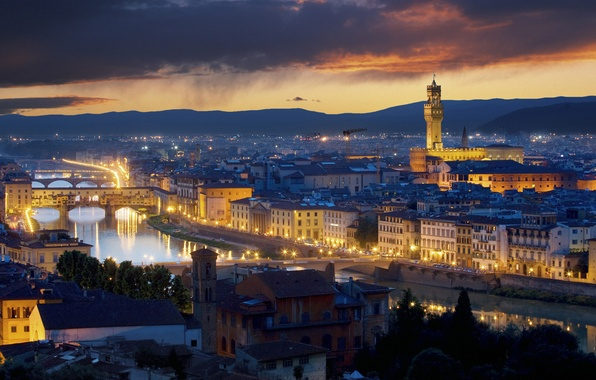 Picture night, the city, lights, Italy, Florence, italy, Palazzo Vecchio, florence, the palazzo vecchio