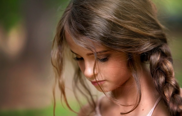 Picture portrait, girl, curls, child photography, Lost in Thought