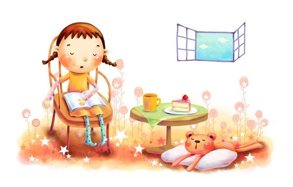 Picture clouds, tea, figure, window, girl, owner, cake, animal, sleepy