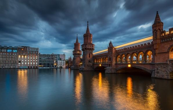 Picture bridge, river, building, Germany, night city, Germany, Berlin, Berlin, oberbaum bridge, the river spree, River …