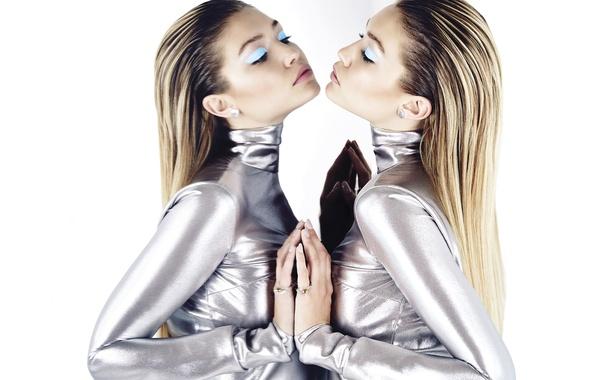 Picture girl, style, reflection, model, makeup, dress, mirror, hairstyle, photographer, white background, It, Gigi Hadid, Gigi …