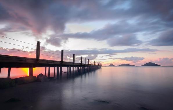Picture sea, clouds, sunset, bridge, Turkey, Bodrum