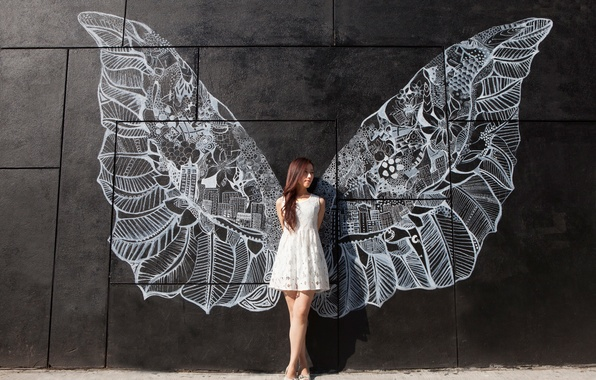 Picture girl, wall, figure, wings