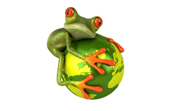 Picture look, graphics, planet, frog, Free frog 3d