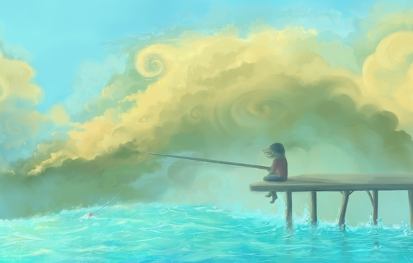 Picture the sky, clouds, river, figure, pier, girl, float, rod