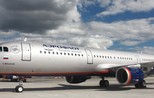 Picture the sky, clouds, the plane, Aeroflot, passenger, Airbus, A-321