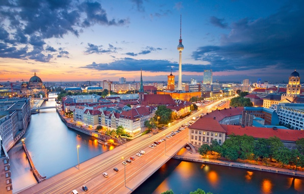 Picture night, lights, river, tower, home, Germany, panorama, Cathedral, Berlin