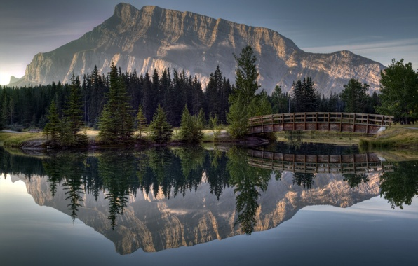 Picture forest, bridge, reflection, river, mountain