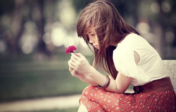 Picture flower, girl, flowers, nature, background, Wallpaper, mood, skirt, brunette, bracelet, decoration, wallpapers, accessory