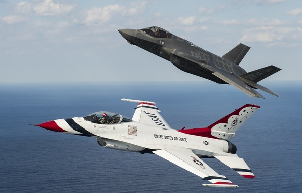 Picture flight, fighters, F-16, Thunderbird, F-35A