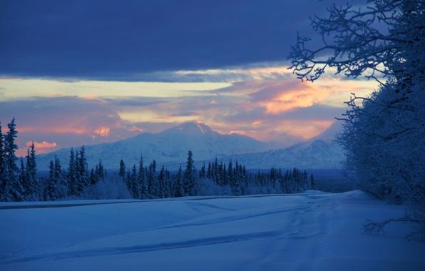 Picture winter, snow, mountains, sunrise, morning, Alaska