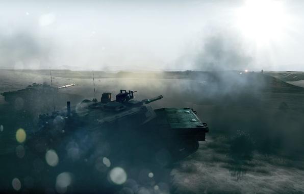 Picture glare, war, smoke, the battle, tanks, Battlefield 3
