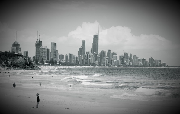 Picture wave, beach, the sky, water, clouds, the city, people, the ocean, building, Paradise, black and …