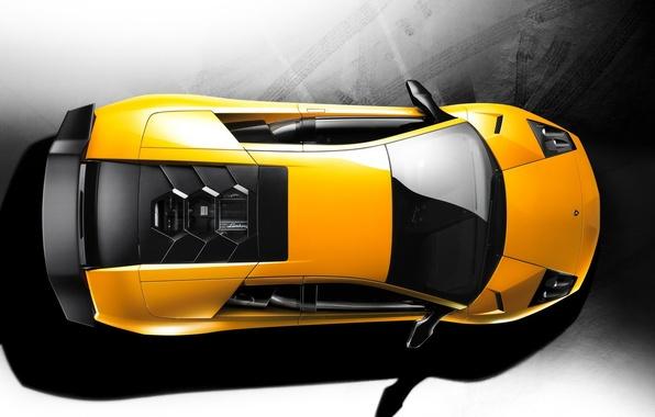 Picture yellow, Lamborghini, top, 157
