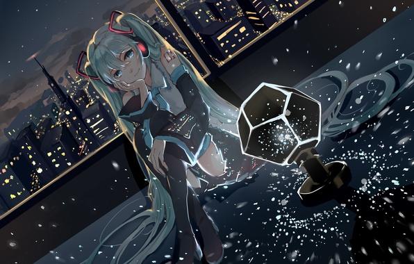 Picture girl, the city, lights, smile, home, anime, headphones, art, vocaloid, hatsune miku, elea