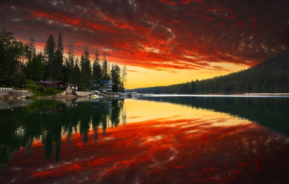 Picture forest, the sky, water, clouds, trees, sunset, mountains, nature, Park, reflection, river, home, colors, forest, …