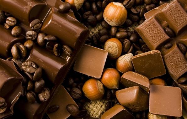 Picture chocolate, coffee beans, sweet, chocolate, sweet, hazelnut
