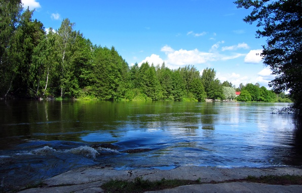 Picture forest, the sky, clouds, trees, landscape, house, river, stones, Finland, finland, langinkoski