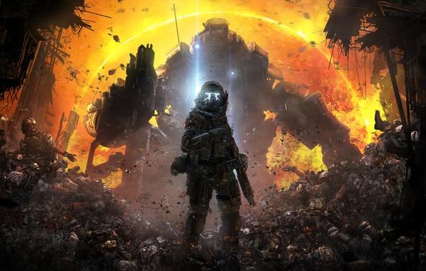 Picture the sun, ash, weapons, soldiers, Fur, pilot, corpses, fighters, Electronic Arts, Atlas, Titan, Atlas, Respawn …