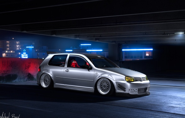 Picture night, tuning, volkswagen, Parking, white, golf, tuning