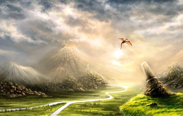 Picture greens, the sun, mountains, river, dragon, valley, art, columns, ruins