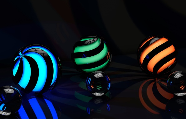 Picture surface, line, reflection, spiral, rendering, patterns, graphics, ball, glow, backlight, curves, sphere, reflections, reflections
