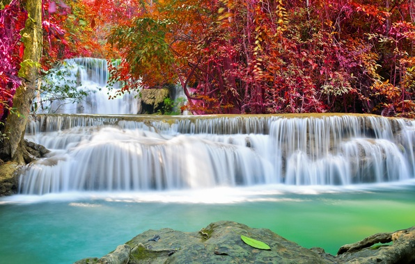 Picture river, water, autumn, waterfall, flow, emerald