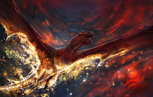 Picture the sky, clouds, death, fire, dragon, wings, art