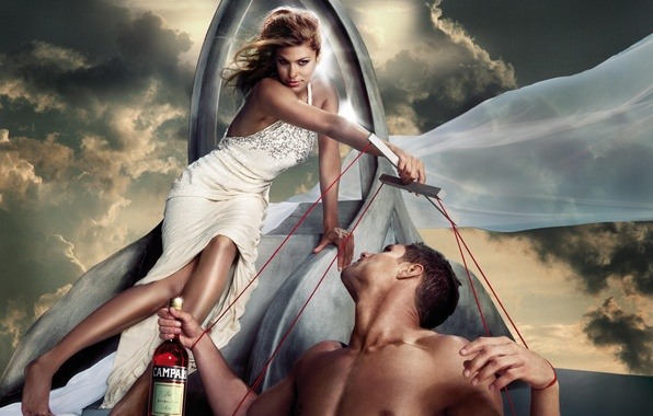 Picture the sky, girl, bottle, dress, actress, Eva Mendes, guy, Eva Mendes