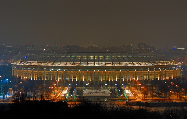 Picture Photo, Lights, Night, The city, Large, Moscow, The building, Grand, Sports, Moscow, Arena, Olympic, complex, ...
