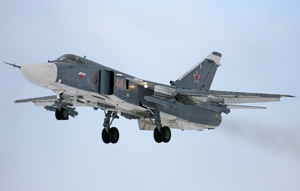 Picture Lights, BBC, Bomber, Russia, Su-24, Dry, Landing, Weapons, Chassis, Su-24
