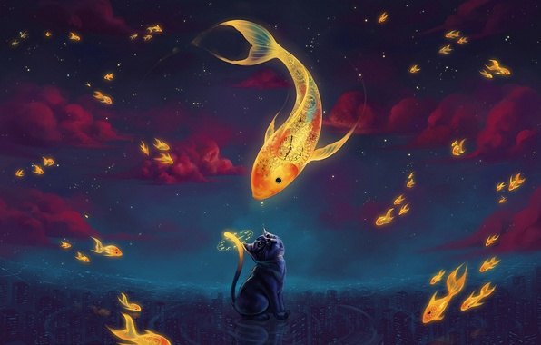 Picture clouds, the city, fantasy, watch, fish, stars, the evening, art, goldfish, dial, kitty
