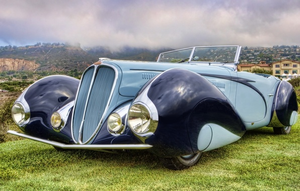 Picture the sky, retro, background, Convertible, the front, Cabriolet, beautiful car, 1937, by Figoni & Falaschi, …