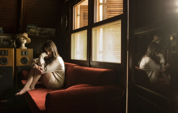 Picture reflection, loneliness, room, sofa, girl Julia