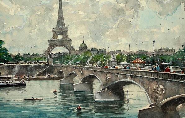 Photo wallpaper picture, bridge, Maximilian DAmico, Paris, Eiffel tower, the urban landscape, watercolor, river
