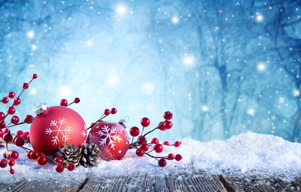 Picture winter, snow, trees, snowflakes, branches, nature, glare, holiday, balls, toys, berry, red, New year, bumps, …